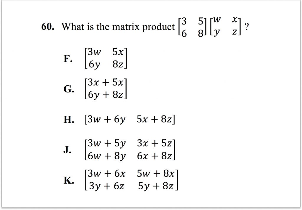 Math Question 60 ACT