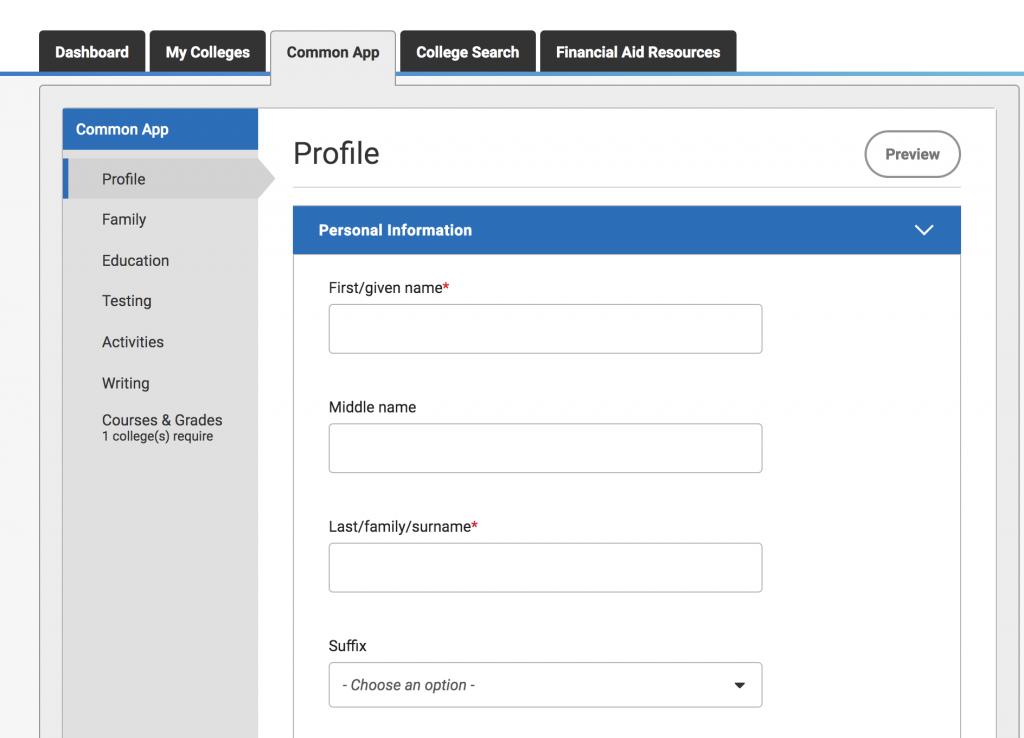 Common App Profile